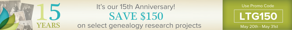 save on professional genealogy research
