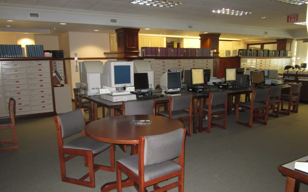 Fourth floor at the New England Historic Genealogical Society contains the microfiche collections.