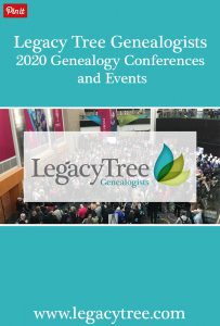 Legacy Tree Genealogists has announced their list of upcoming genealogy conferences and events for the upcoming year. #genealogy #genealogyresearch #genealogyconferences #genealogywebinars #genealogyevents #2020 #DNA #familyhistory #familytree