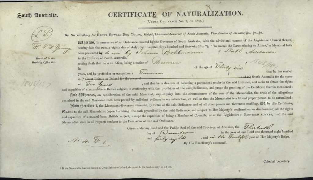 Australian archives - Certificate of Naturalisation