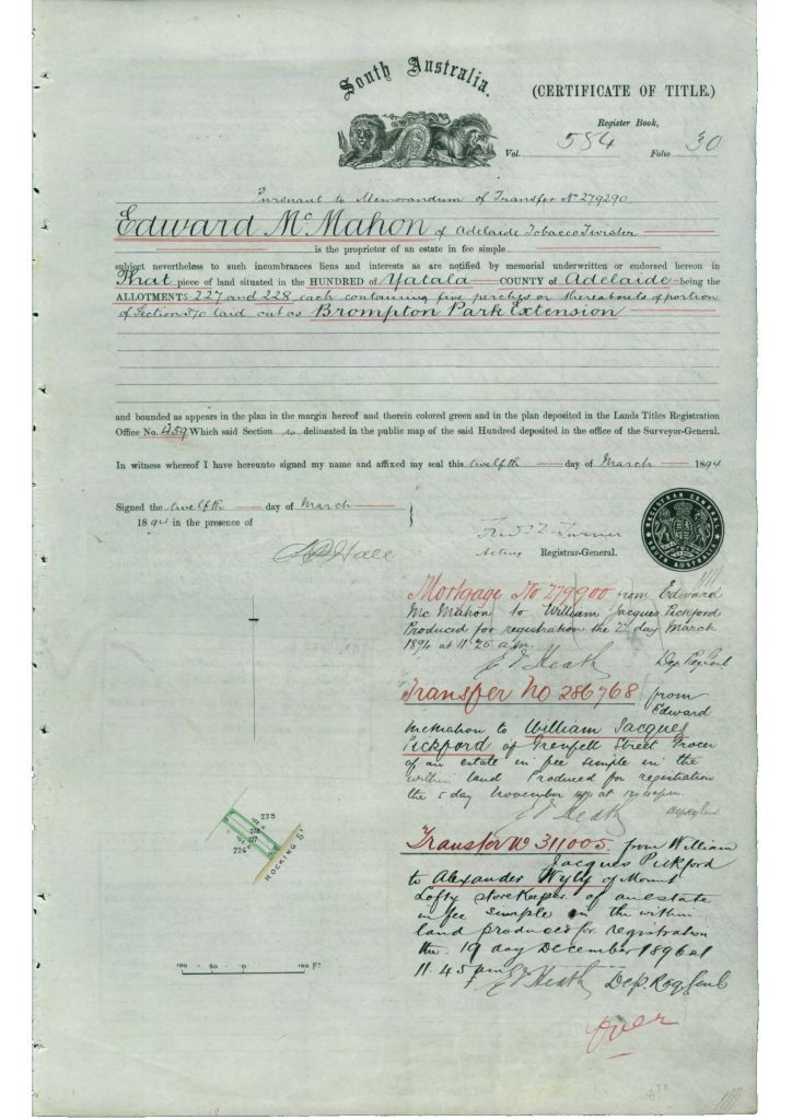 South Australia Certificate of Title (SAILIS: Certificate of Title