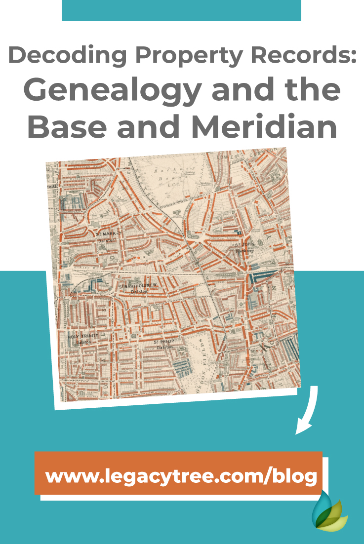 Property records are full of genealogy information! Here's how understanding the baseline and meridian in land records can help in your genealogy research.