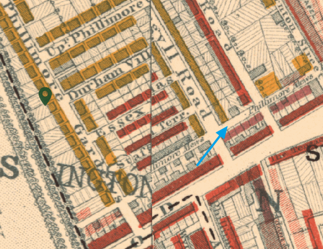Phillimore Mews in Kensignton on the Booth Poverty Maps