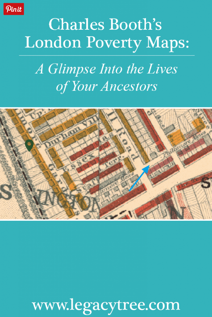 If your ancestors lived in London at the end of the 1800s, the digitized Booth poverty maps provide fascinating insight into neighborhoods and standards of living in the city. #Englishancestry #genealogy #familyhistory #genealogy #london #England #boothpovertymaps #genealogy resources