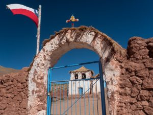 Chilean Flag in Front of Church