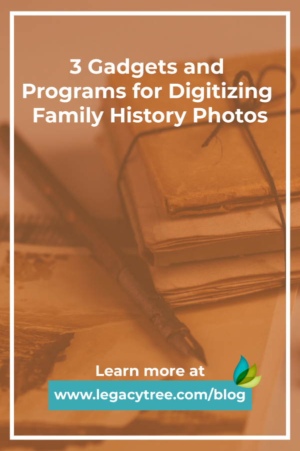 Here are 3 Gadgets and Programs for Digitizing Family History Photos, here to help make the process easier and more effective!