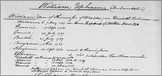 Entry for the family of William and Elizabeth (Robinson) Upham