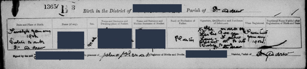 Birth Record of {name removed for privacy}. Obtained from FamilySearch.org.