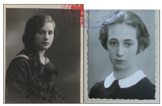 Photos of Genesia Preminger (1929) and Sabina Horowits (1937) from their school certificates.