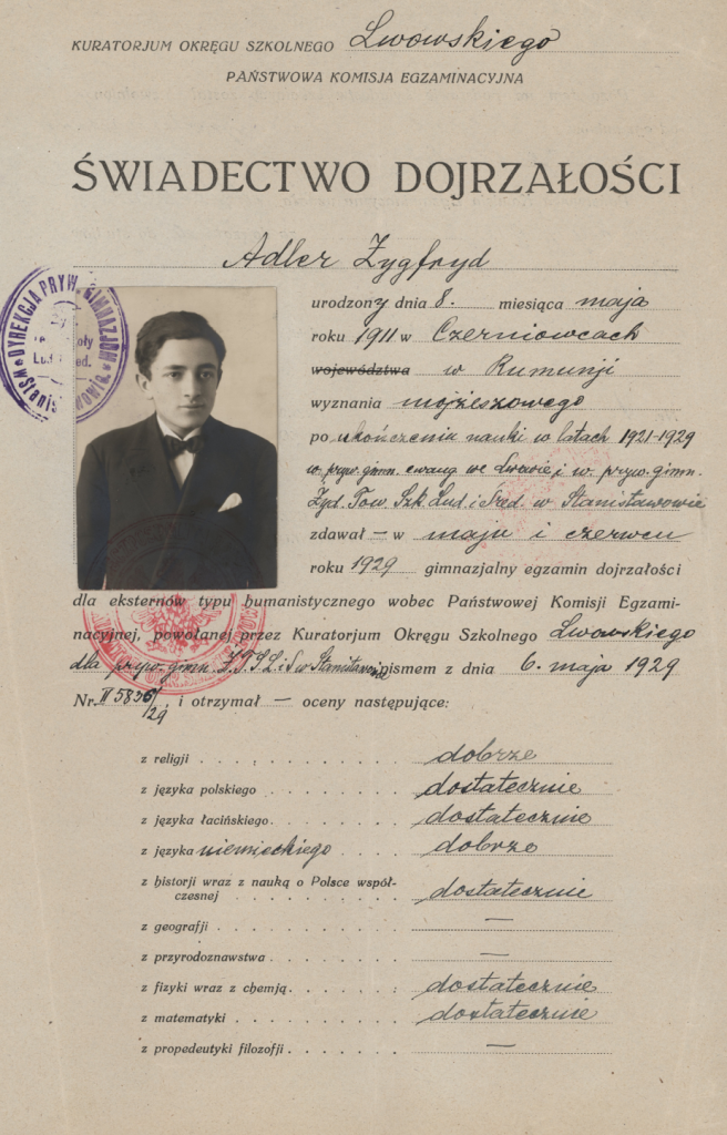 Zygfryd Adler's graduation certificate from Stanislawow High School, 1929