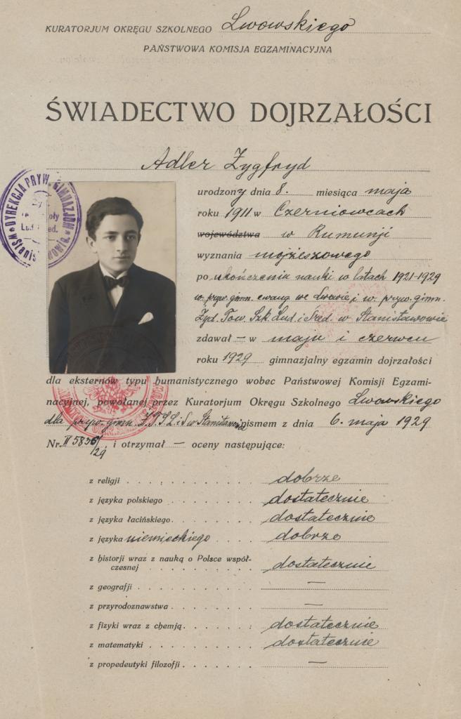 Zygfryd Adler's graduation certificate from Stanislawow High School, 1929