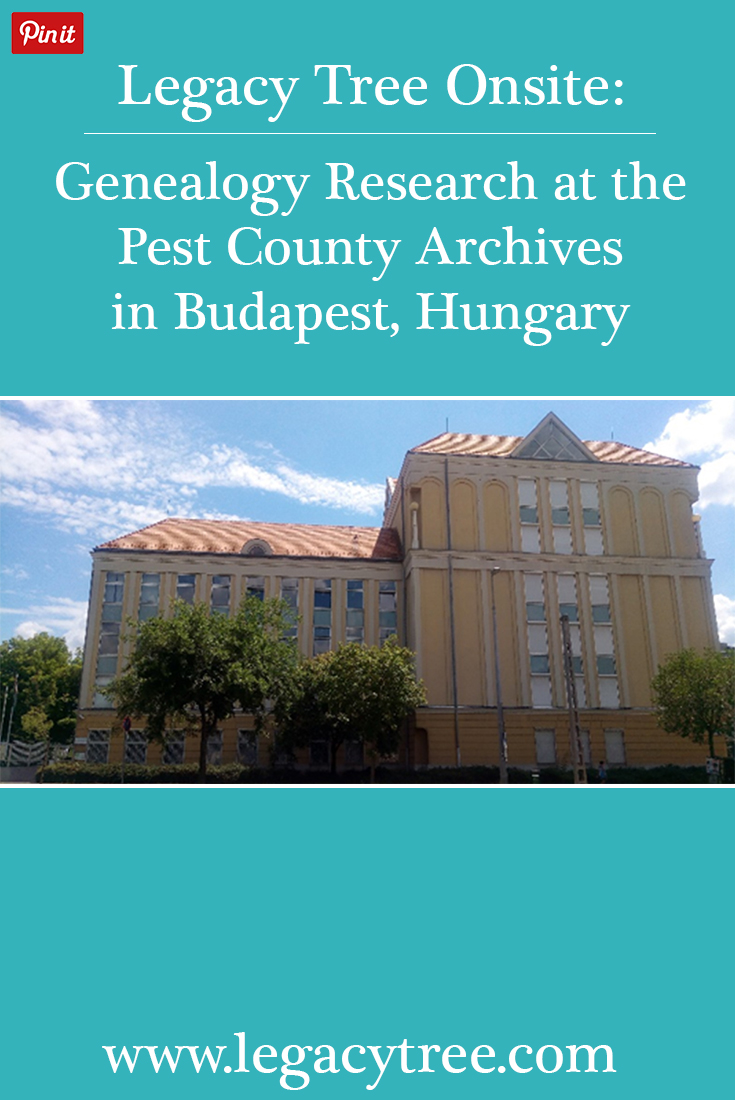 Legacy Tree Genealogists works with researchers from across the globe to access records for our clients. We asked one of our onsite researchers in Hungary to share an inside look at the resources available for family history research at the Pest County Archives located in Budapest, Hungary.