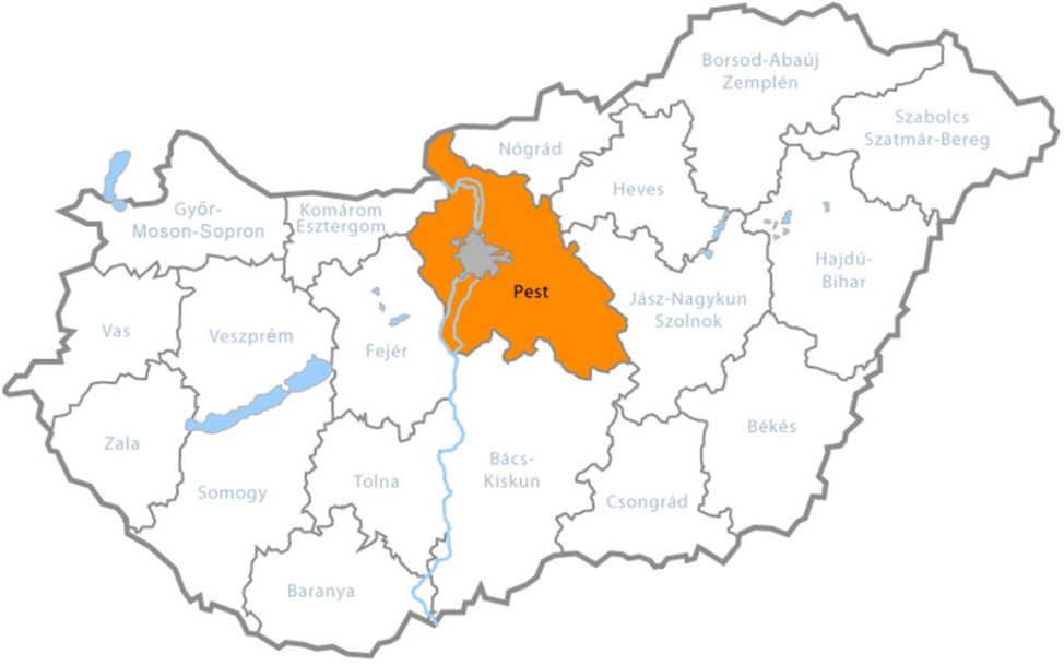 Pest County in present-day Hungary