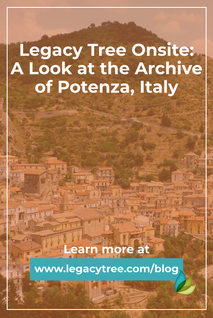 Legacy Tree works with researchers all over the world to access records. Here is a deeper look at the Archive of Potenza, Italy from our onsite researcher.
