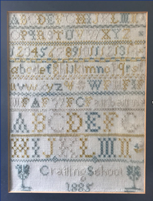 an example of a Scottish embroidery sampler, stitched by Isabella Fairbairn.