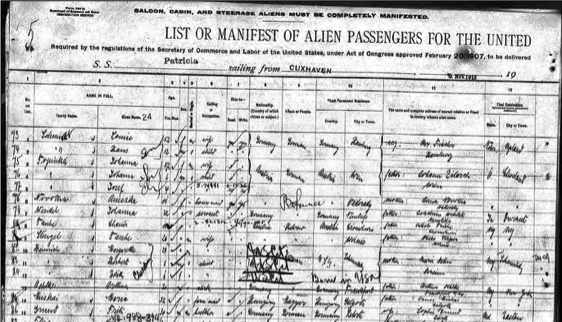 passenger list example from New York.