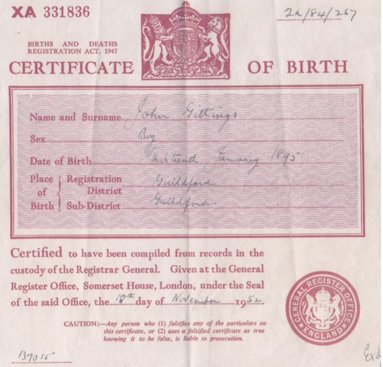 English record - certificate of birth