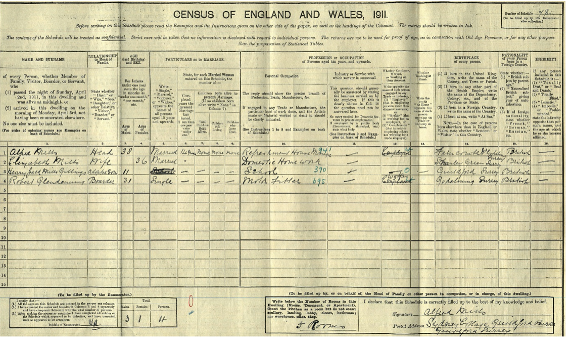 English records - sample from the 1911 census