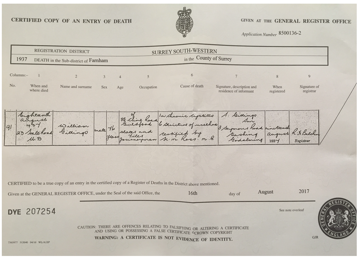 English records - example of death certificate