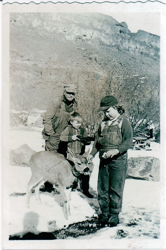 ancestor with their pet deer