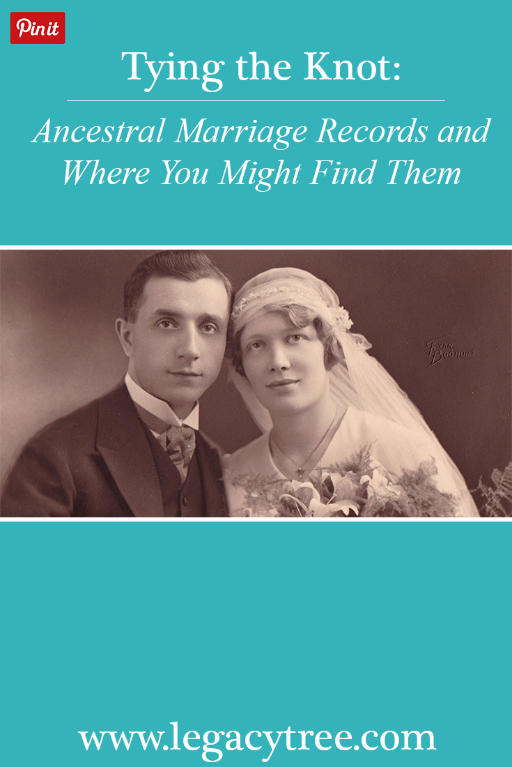 Marriage records are an important source of genealogical information, often providing the only source of a woman's maiden surname. Learn where to find marriage records for your ancestors! #genealogy #familyhistory #marriagerecords #ancestry #familytree #genealogists #legacytree