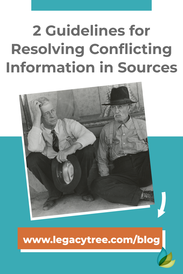 Are you finding a record with conflicting information? Follow these two guidelines for dealing with conflicting information in genealogy sources.
