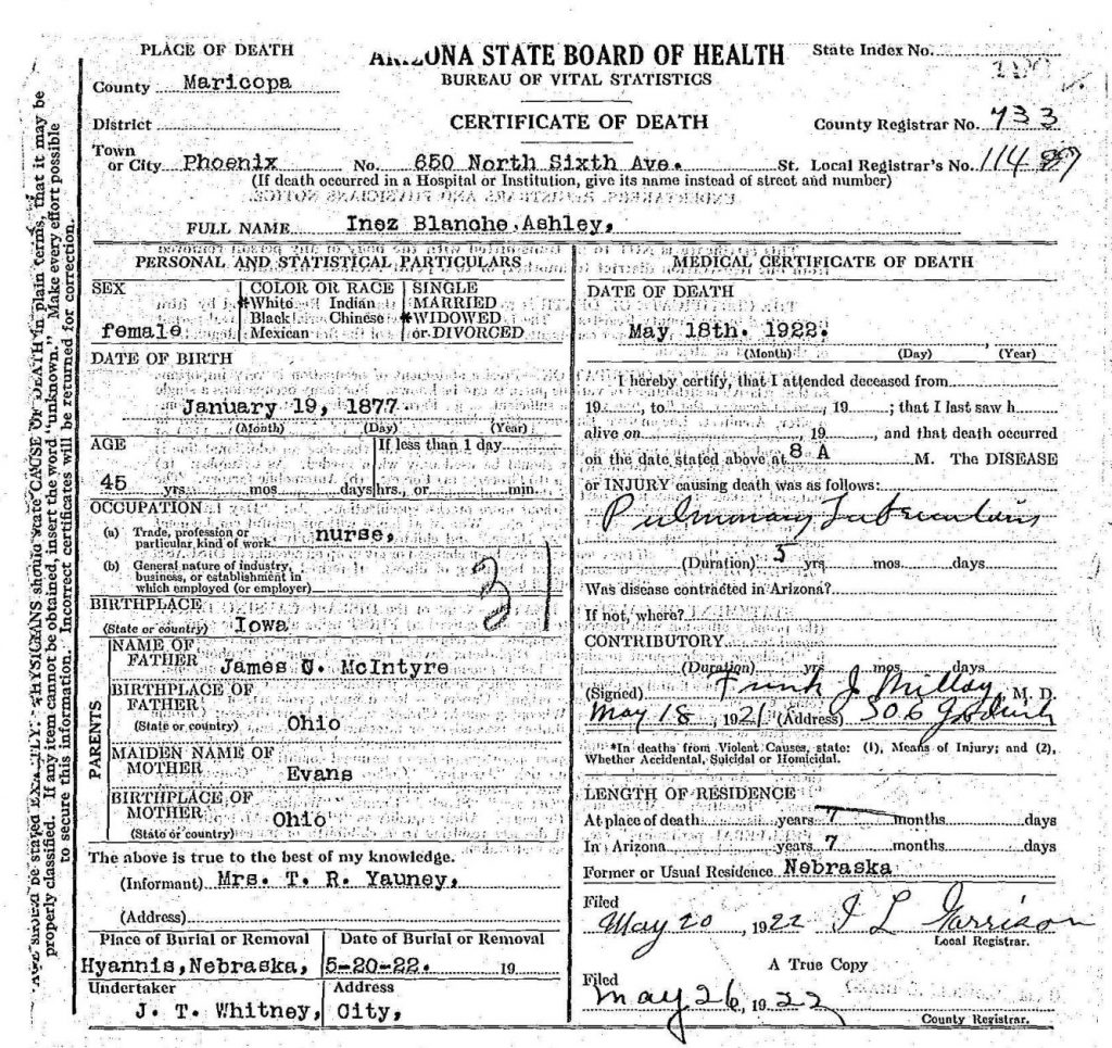 death certificate - example of secondary information