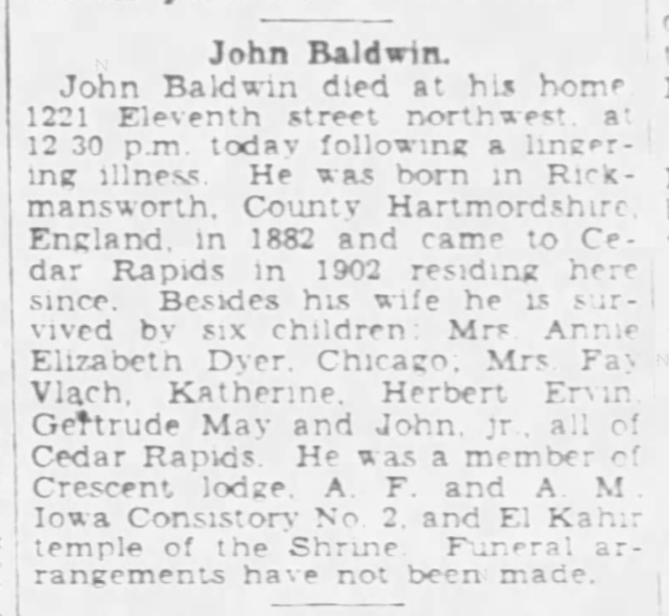 obituary of John Baldwin - example of Undetermined Information