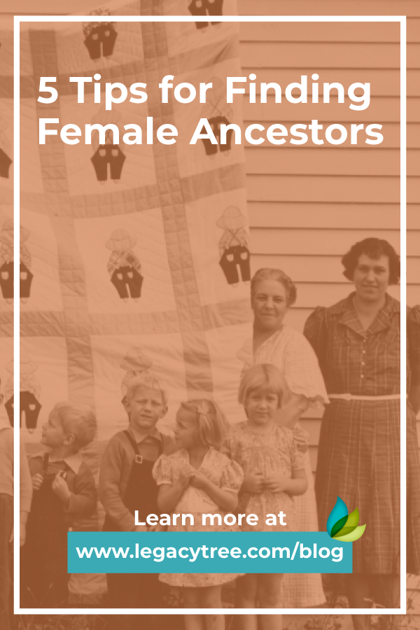 Are you struggling to find female ancestors in your family history? We share 5 tips for locating those elusive ancestresses in genealogy records.