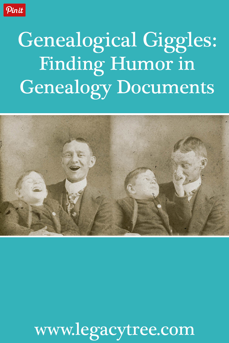As genealogists, we occasionally encounter funny genealogy records that makes us giggle. Here's a collection of some of our favorites!