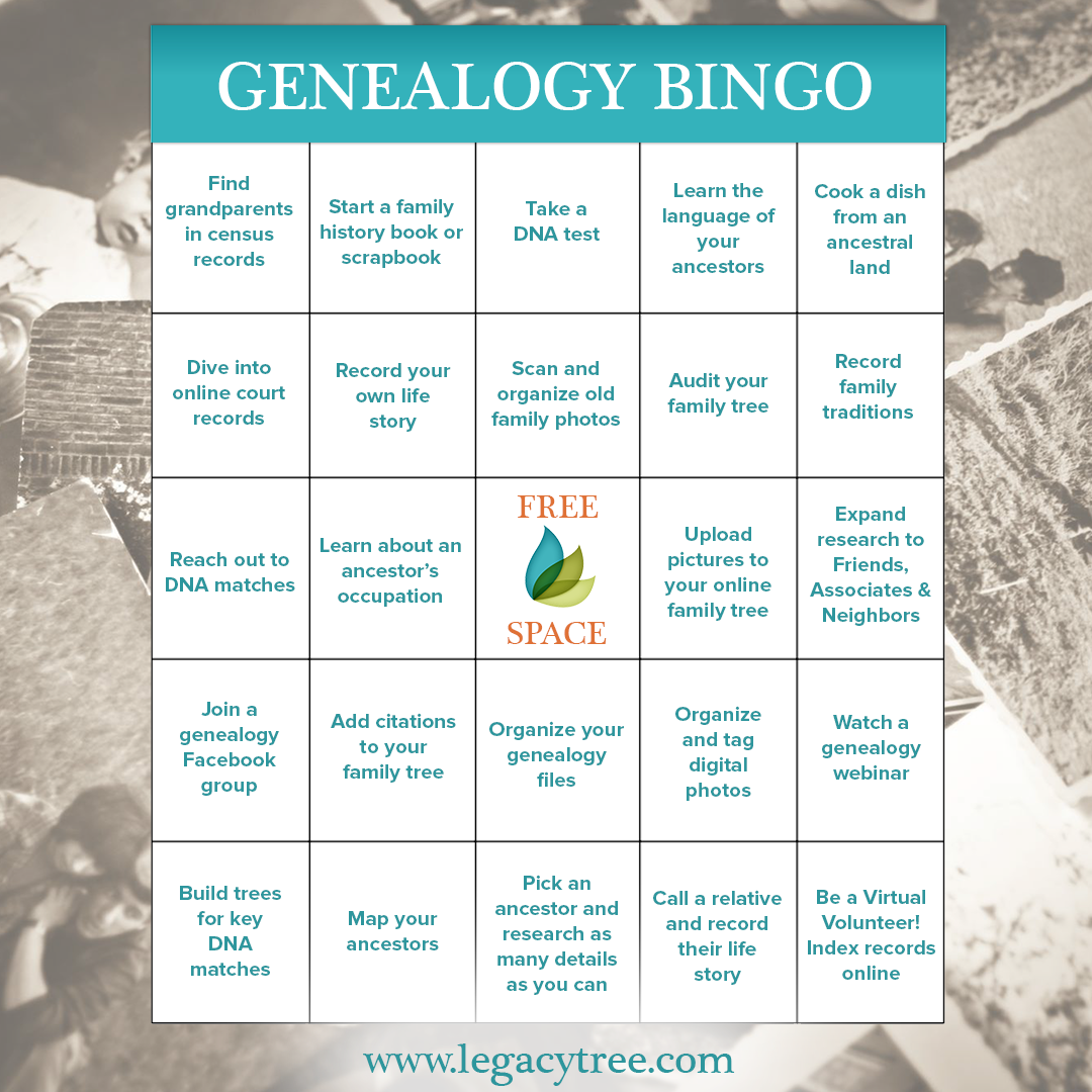 coronavirus quarantine activities - free genealogy bingo game