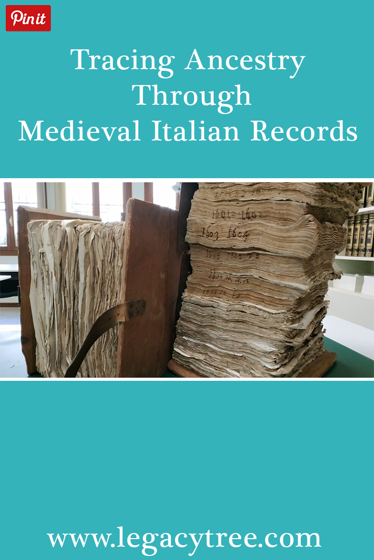 Legacy Tree works with researchers all over the globe to access records for our clients. A recent client research project involved utilizing medieval Italian records to extend their Italian ancestry.