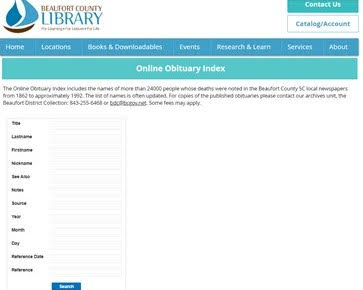 historical newspaper - example of online obituary index
