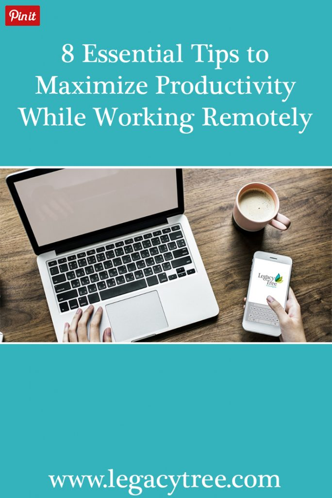 8 essential tips to help you maximize productivity while working remotely. #remote #entrepreneur #business tips #telecommute #remotework #flexjobs