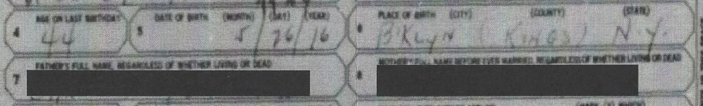 Form SS-5 with names of the applicant's parents redacted.