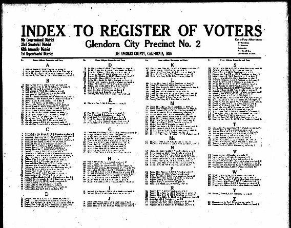 Index to Voter Registration
