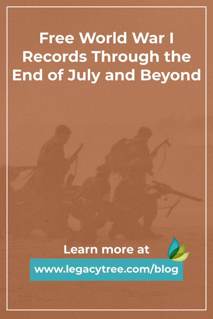 """One of the best things to hear as a genealogist is, """"Free records!"""" World War I records have been offered free from MyHeritage through the end of July."""